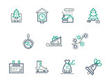 Christmas and winter simple line vector icons set