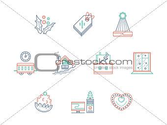 Christmas celebration color line vector icons set