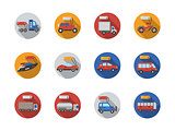 Car sale services round flat color vector icons