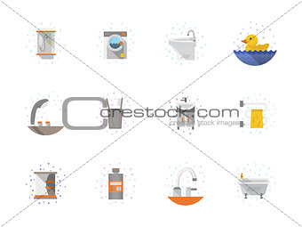 Bathroom flat color icons vector collection