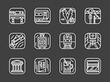 Passenger transportation white line vector icons
