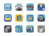 Stylish flat color railway icons vector collection