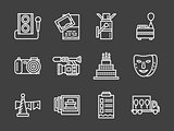 White line vector icons for party