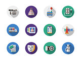 Party organization round flat color vector icons