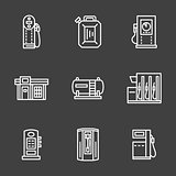 Simple line white gas station vector icons