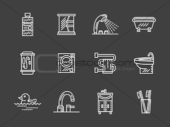 Bath objects white line icons vector collection