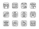 Set of black simple line railway vector icons