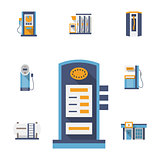Refuel station flat color vector icons set