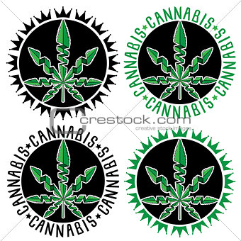 Cannabis marijuana design stamps