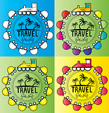 summer holiday design stamps with cartoon train illustration