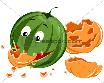 Watermelon eating pumpkin