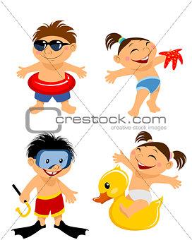 Four children on beach