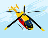 Yellow flying helicopter