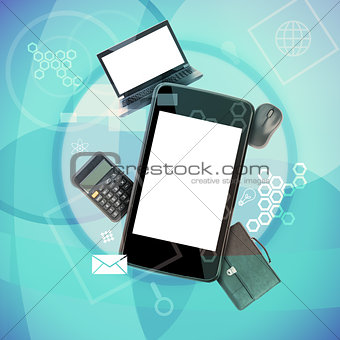 Smartphone with laptop and calculator