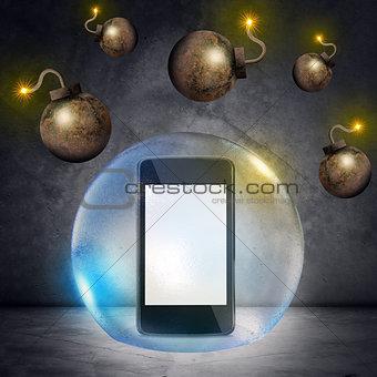 Smartphone in bubble
