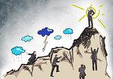 Set of businessmen climbing mountain