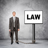 Businessman word law on post sign