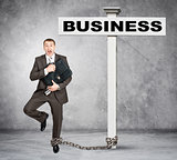 Businessman word business on post sign