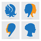 Woman icons set. Vector portraits silhouette.