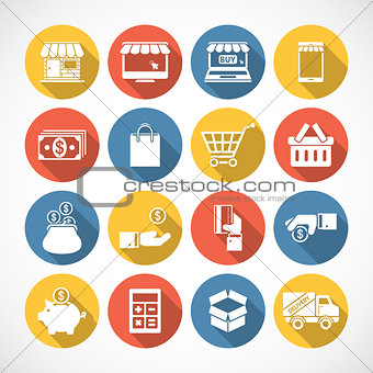 On Line shopping icons with long shadow