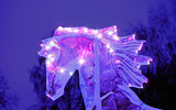 Sparkling figure ice horse head with flying mane