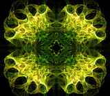 Translucent symmetric nebula complex structured, bubbles and flows in different directions . Fractal art graphics