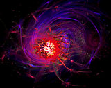 Fantastically translucent abstract space nebula with a complex structure consisting of bubbles and nebulae, spinning twisted in different directions. Fractal art graphic