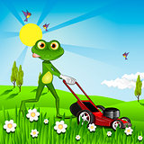 Frog mows the lawn