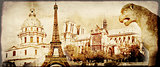 Grunge background with paper texture and landmarks of Paris