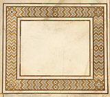 Frame of ancient mosaic on marble in Taj Mahal, India