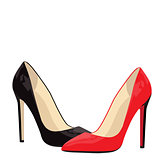 black and red shoe