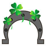 Green Clover Leaves and Horseshoe