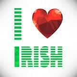 polygonal red glass heart. St. Patricks Day