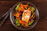 Halloumi cheese with salad.