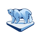 Polar Bear On The Block Of Ice
