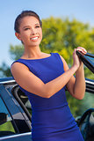 Asian Eurasian Woman Business Woman By Her Car