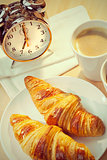 Continental Breakfast Croissant, Coffee & Alarm Clock