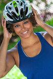 African American CWearing Bicycle Helmet