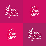 Set of love you lettering Valentine vector design