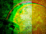 Leprechaun Hat Rainbow Grunge Flag Background