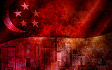 Singapore Skyline and Flag Grunge Background