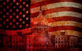 Washington DC Capitol US Flag Grunge Background