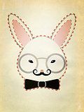 Rabbit Head with Glasses Grunge