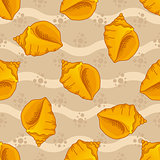 Seamless patterns with seashells