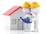 3d Two architect people with helmet, plans and house. Constructi