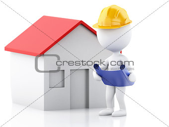 3d architect people with helmet, plans and house. Construction c