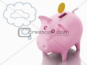 3d piggy bank with golden coin