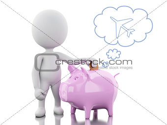 3d White people with Piggy bank, thinking of holidays.