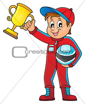 Car racer holding trophy theme image 1