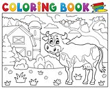 Coloring book cow near farm theme 2